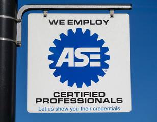 ASE certified auto mechanic ASE logo
